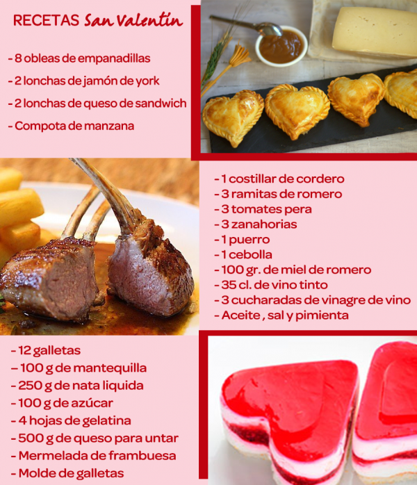 Infografía recetas San Valentín