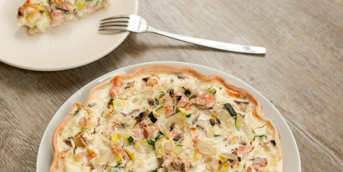 Quiche de salmón y verduras sin lactosa